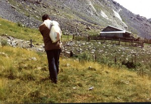 1994, Marcel Bellieud de retour des assalès de l'Estrop (Péone)