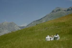 2003, les big-bags préparés sur le Pral, Estrop (Péone)