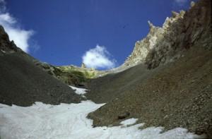 la descente du colle d'Enchiausa vers Chialvetta, 1990