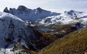le lac d'Allos (2200m) en novembre 1982