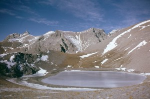 le lac des Garrets (2621m) en novembre 1985