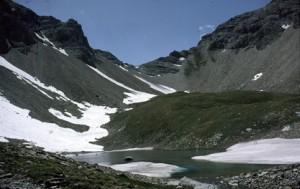 le lac des Linaigrettes (2494m) et le col de la Petite Cayolle (2639m), 1984